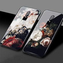 Vintage Flower Beautiful Art Painring Luxury One Plus 1+6T Soft Silicone Tempered Glass Phone Case Shell Cover For OnePlus 6 6T