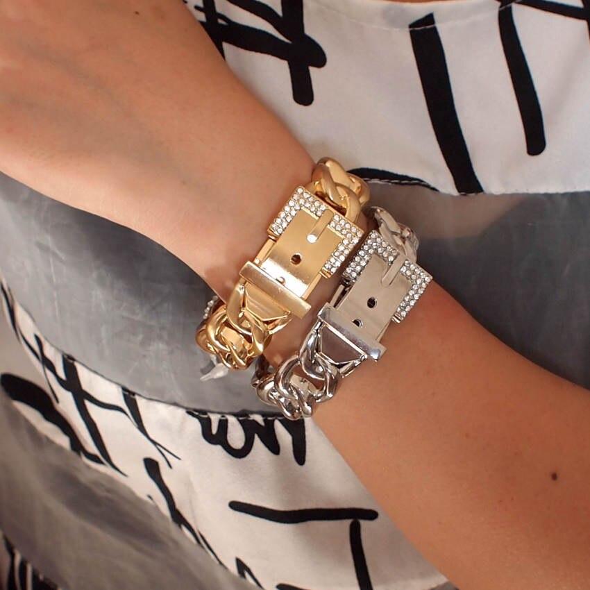 UKMOC Classic Rhinestones Metal Bracelets For Women Statement Alloy Cuff Bangle Jewelry Party Fashion Accessories(China)