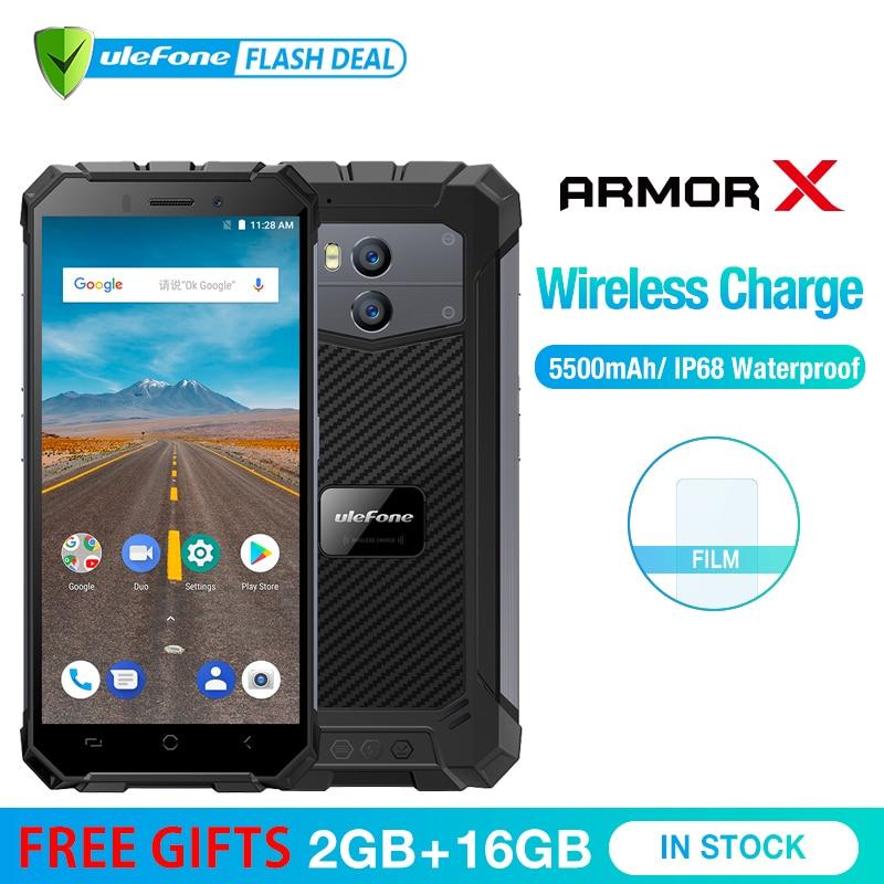 Ulefone armadura X impermeable IP68 Smartphone 5,5 HD Quad Core Android 8,1 2 GB + 16 GB 13MP NFC cara ID 5500 mAh de carga inalámbrico del teléfono