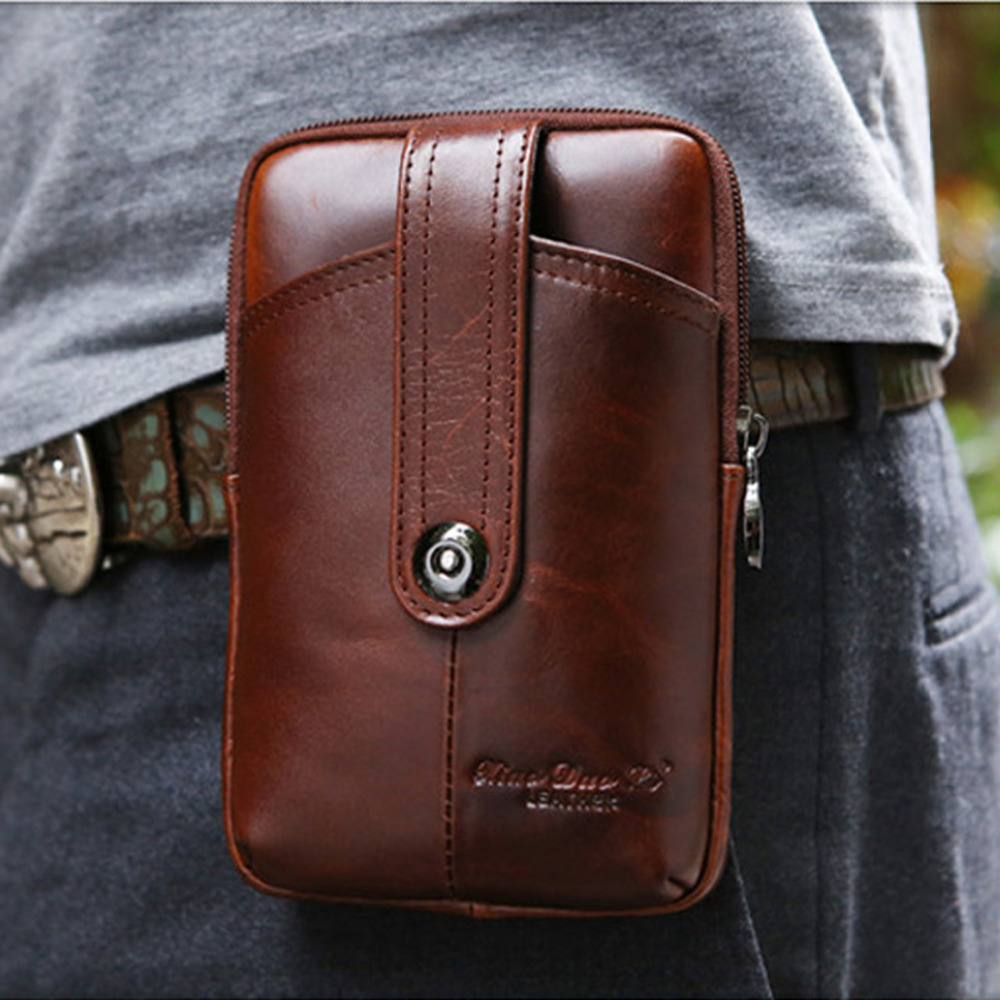 New Men's Genuine Leather Cowhide Vintage Snap Button Belt Hip Fanny Pack Waist Bag Purse For Cell Mobile/Phone Case Cover Skin