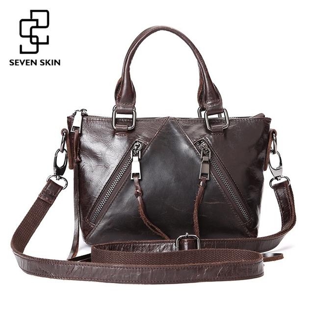 2017 New Women Fashion Design Tassel Handbag Female Genuine Leather Messenger Bag Vintage Retro Ladies Shoulder Bag with Zipper