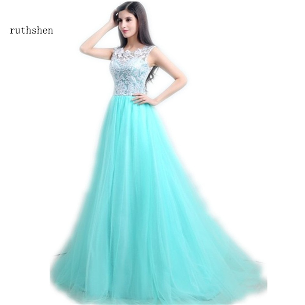 ruthshen Cheap   Prom     Dresses   2018 With Bateau Neck Sleeveless White Lace Mint Green Tulle Long Party Evening   Dress   Under 100