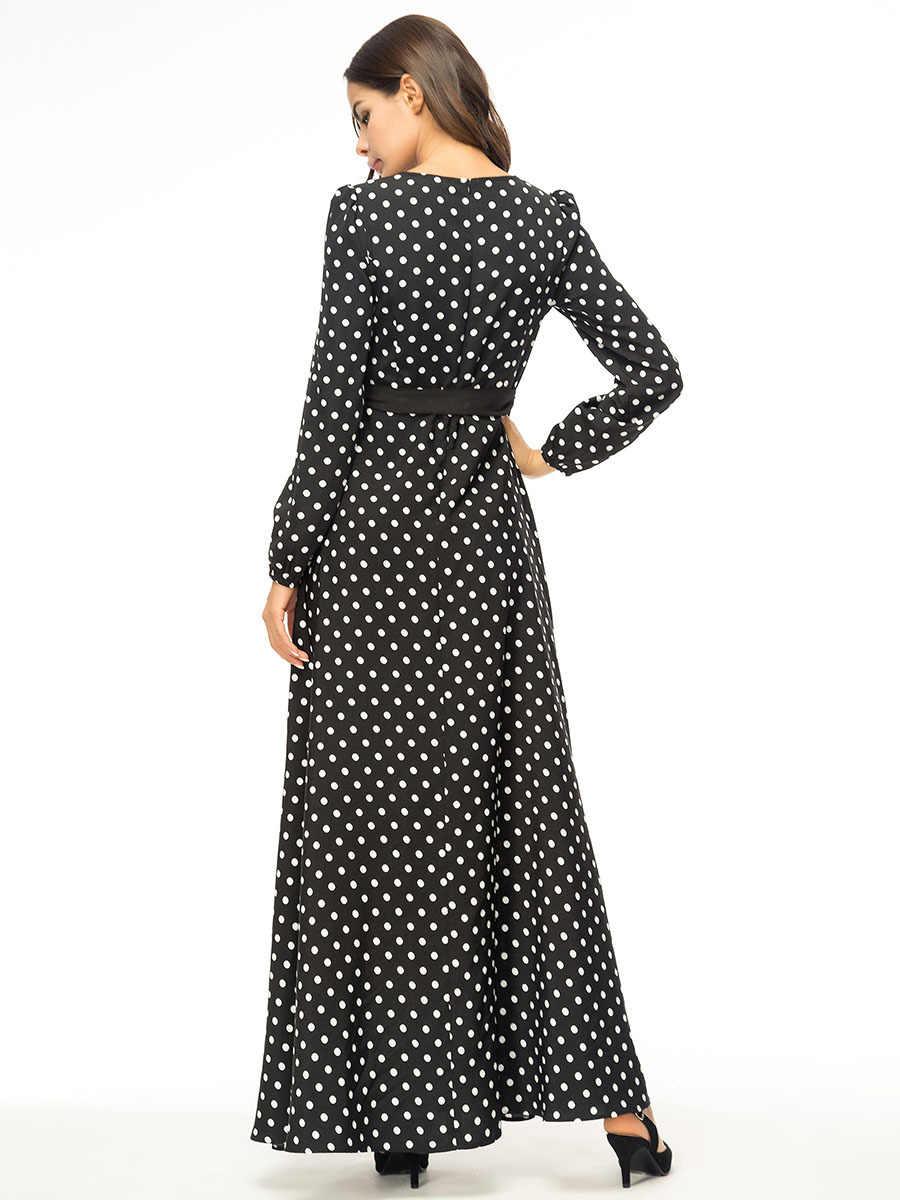 Черные Абайи женские большие размеры мусульманская одежда бандо в горошек длинные платья макси мусульманское платье кафтан мусульманская одежда для Дубай Турция Кафтан Халат