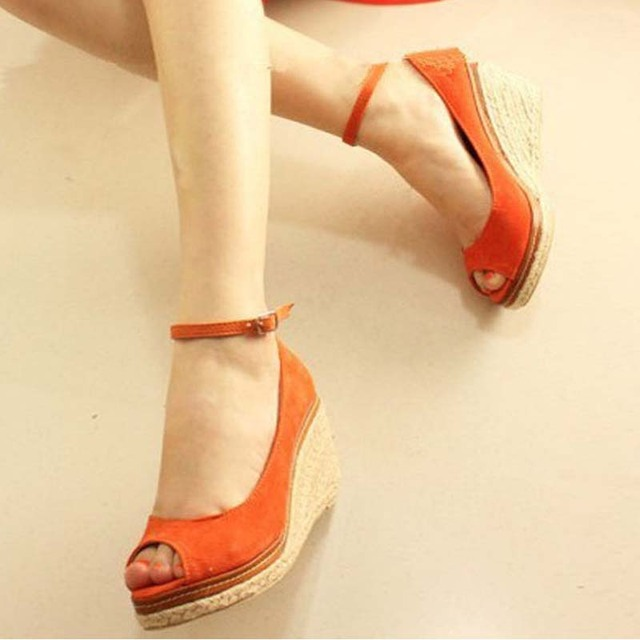 39b402c9f49d plus size 34-45 women orange wedge shoes buckle hemp wedges high heels open  toe spring autumn pumps fashion flock platform shoes