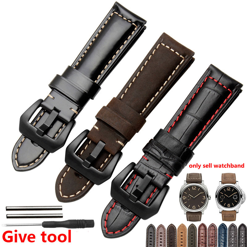 Genuine Leather Watch bands 20mm 22mm 24mm 26mm Men's Thick Strap Scrub Wristwatch chain For PAM111 eache 20mm 22mm 24mm 26mm genuine leather watch band crazy horse leather strap for p watch hand made with black buckles