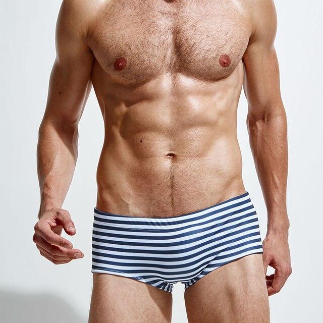e42c76a7022 2016 Men's Swimming low waist swim trunks swimming shorts Sexy Nylon Solid  High Quality Swimwear stripes Swimsuit