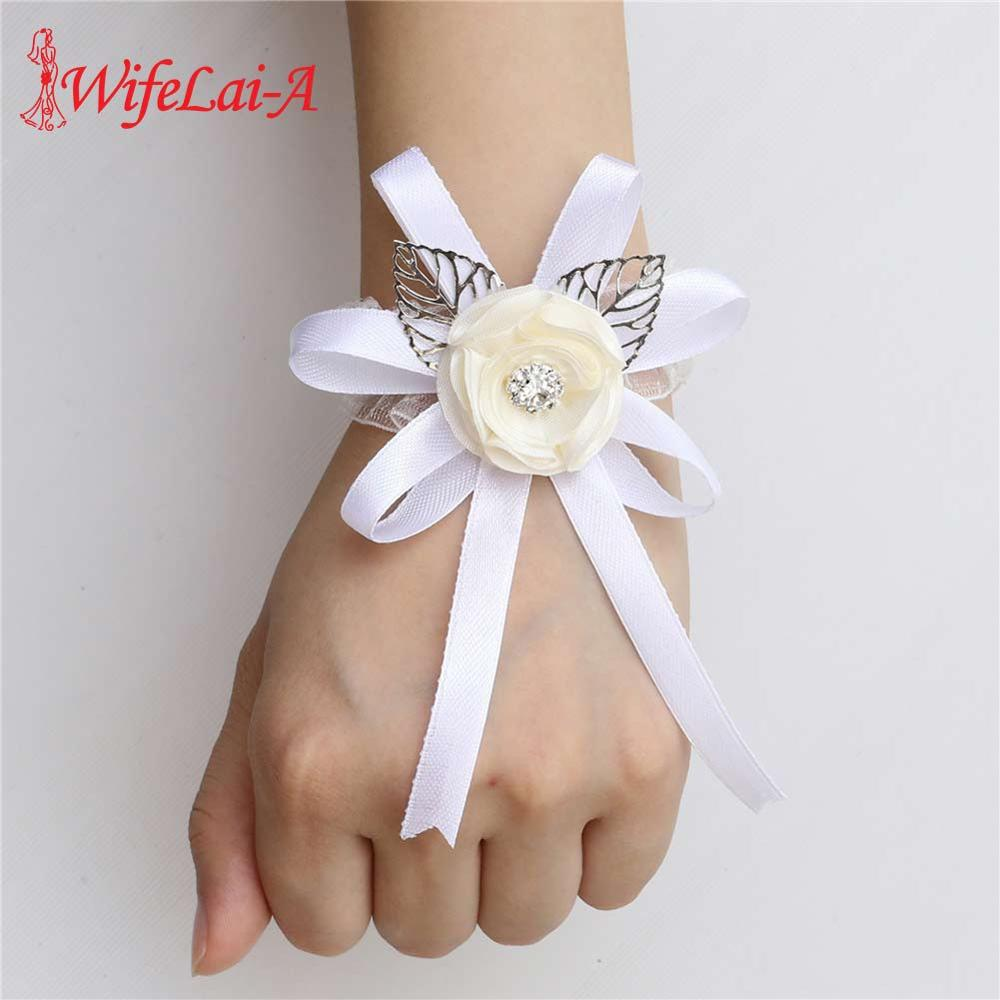 Ivory Ribbon Artificial Flowers Bride Bridesmaid Hand Wrist Flower Wedding Decoration Bridal Sisters Wedding Accessories SWSL
