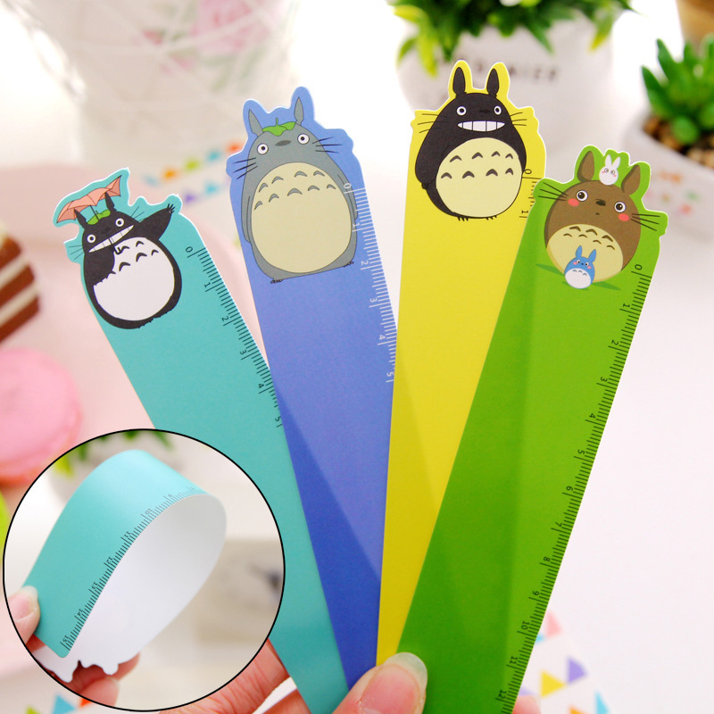 4pcs Cute Cartoon Totoro Pvc Plastic Straight Rulers For Drawing Bookmarks  Ruler 15cm For School Line Office Accessories