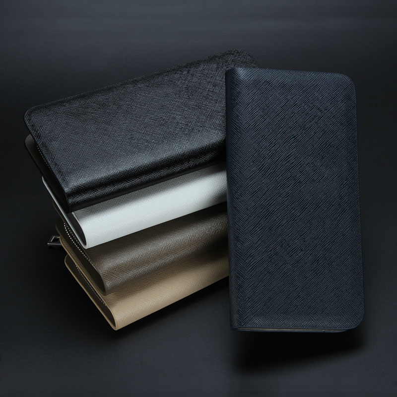 New Arrival Portable Business Men Solid PU Leather Long Wallet Cash Purse Casual Wallets Zipper Clutch Bag Card Holder Money Bag