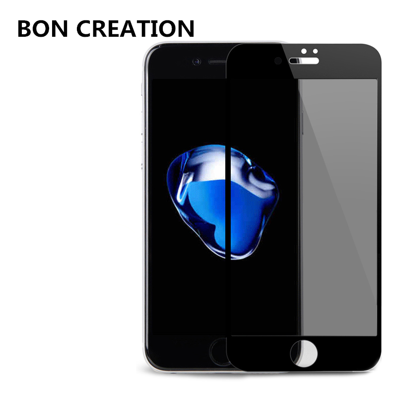 BON CREATION Privacy Full Screen Protector 360 Degree Anti Glare Tempered Glass for iPhone 6 6s Plus 7 Plus Protective Film