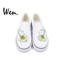 Wen Original Design Peacock Feather Hand Painted Shoes Custom Slip On White Athletic Shoes Women Men's Breathable Sneakers