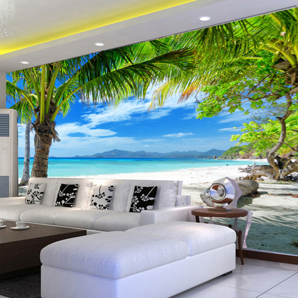 Large 3d wallpaper the Mediterranean landscape beach coconut for TV background wall paper the sitting room wallpaper modern Обои