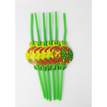 6pcs Jungle king lion theme Disposable Drink Straws Plastic for Kids Birthday Party Decorations