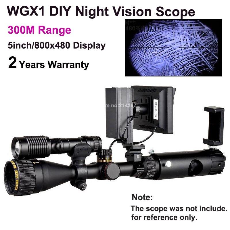 WGX1 300M Range DIY Night Vision Scope with 5w Laser Flashlight Hunting Night Vision Riflescope NV Scope Monocular On Sales original yukon 26016t night vision riflescope 3x hunting riflescope nvrs sentinel 3x60 night vision scope for hunting