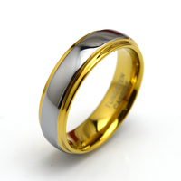 Customize Mens Silver Gold Color Tungsten Wedding Band Ring