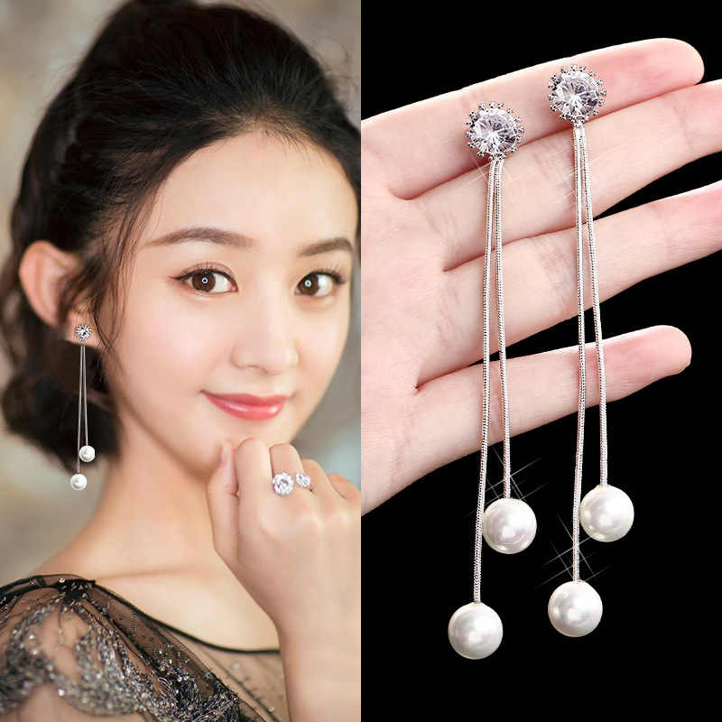 Trendy Elegant Big Simulated Pearl Tassel Dangle Earrings Zircon Pearls Statement Long Drop Earrings For Wedding Party Gift