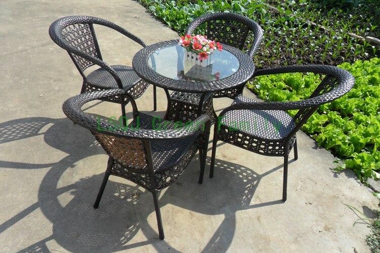 Patio de mimbre silla mesa, jardín al aire libre muebles de ratán uk ...