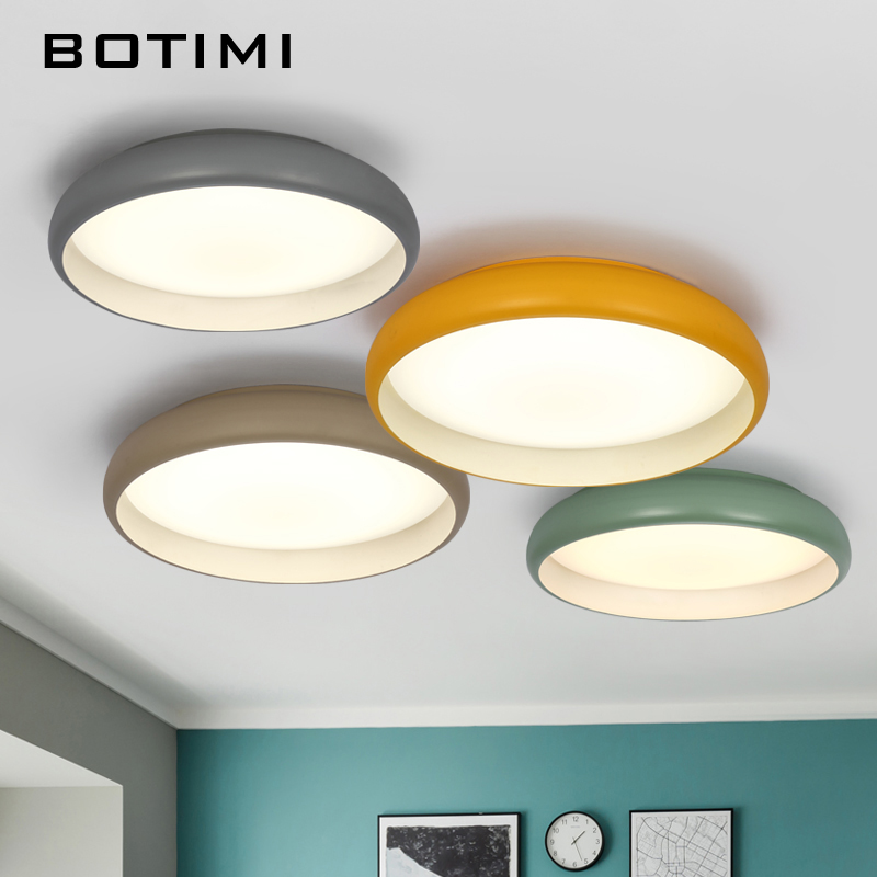 BOTIMI New Design LED Ceiling Lights Colors Lamparas de techo Metal Frame Bedroom Lamp Kicthen Lighting Fixture Home Deco noosion modern led ceiling lamp for bedroom room black and white color with crystal plafon techo iluminacion lustre de plafond