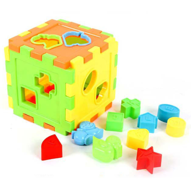 Toddler Toys Puzzle : Square bricks matching sorting box kids puzzle baby