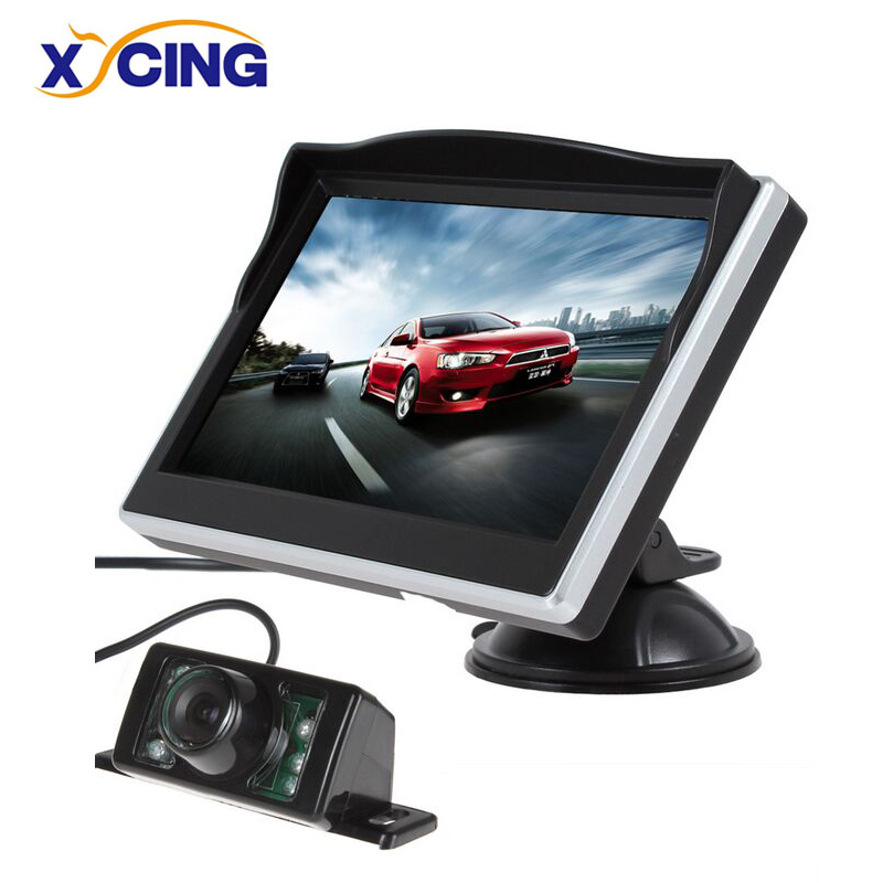 XYCING 5 Inch TFT LCD Color Monitor Car Rear View Monitor Digital HD Screen Sunshade Monitor + 7 IR Lights Car Rear View Camera diykit ir night vision ccd rear view car camera white 7 inch hd tft lcd car monitor reverse rear view monitor screen