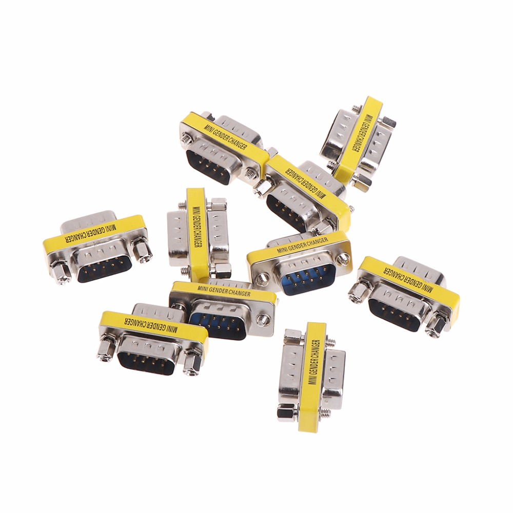 10 Pcs 9 Pin RS-232 DB9 Male To Male Serial Cable Gender Changer Coupler Adapter