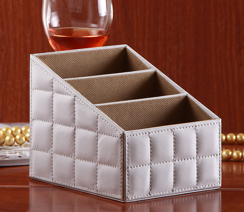 Creative PU Leather multifunction remote control storage box Desktop stationery