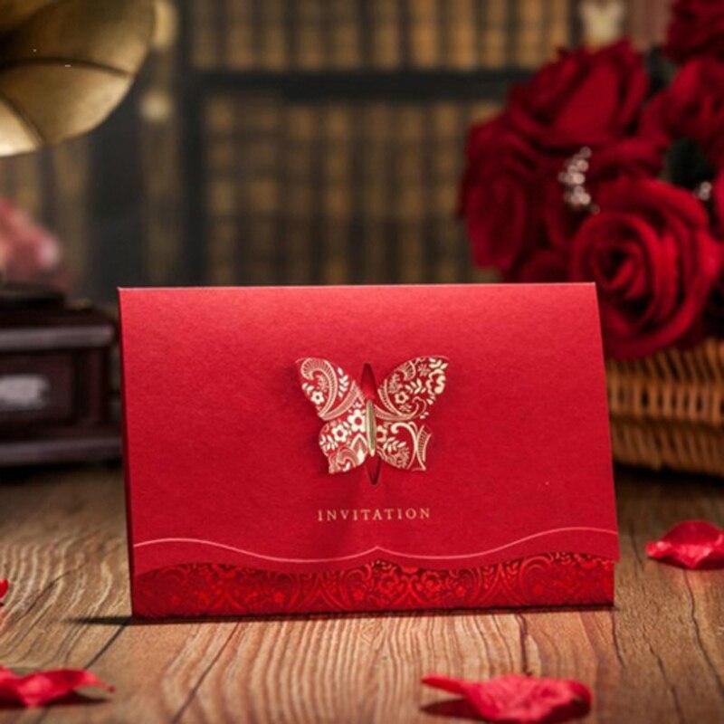 Homebegin 25 unids/lote 2D corte láser rojo mariposa invitaciones de boda Tarjeta de boda decoración impresión personalizada fuentes del partido