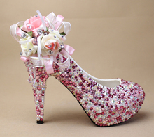 2016 New Luxury Fashion Multi Crystal High Heel Bridal Dress Shoes Woman Wedding Shoes Party Prom Glitter  Bridal  Dress Shoes