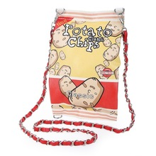 Free shipping 2016 Women Teenager Flap Clutch Bags Chain Mini Shoulder Messenger Purses Funny Personality Potato Chips Handbags