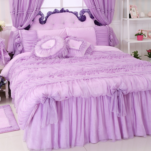 Princess Lace Pink Purple Bedding Sets,girl Twin Full Queen King Fairyfair Lovely  Bed Fabrics Home Design Ideas