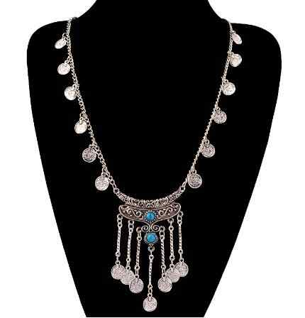 High Quality New Fashion Gypsy Bohemian Boho Jewelry Antique Silver Tassels Long Carving Coins Necklace For Women Fine Jewelry