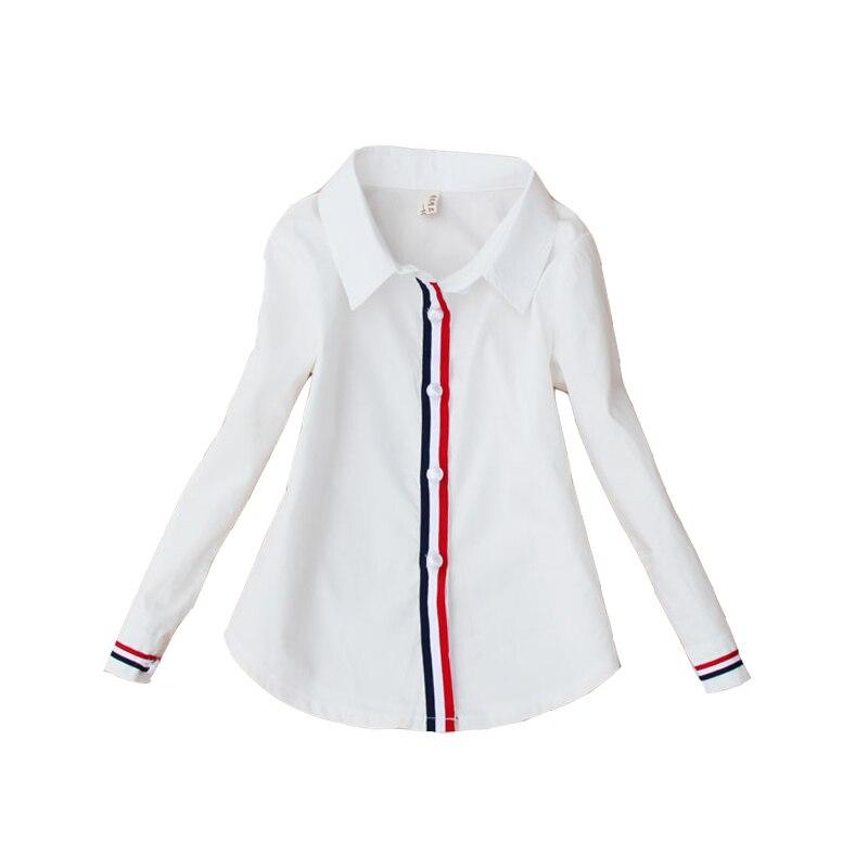 9103f99df Blusas blancas para estudiantes para niñas uniformes escolares camisas de  algodón a rayas para niños Tops 2 4 6 8 10 12 14 blusas adolescentes de ...