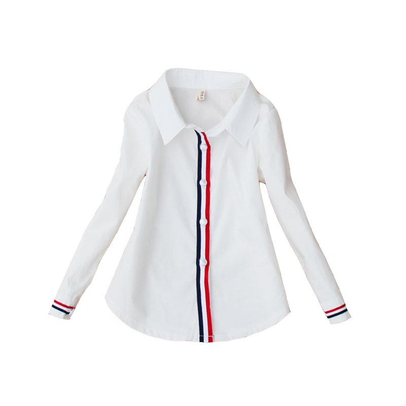 Students White Blouses For Girls School Uniforms Cotton Striped Shirts For Kids Tops 2 4 6 8 10 12 14 15 Years Teenage Blouses classic original white gothic lolita shirts 18th century long flare sleeve cotton lace lolita tops blouses for 2018