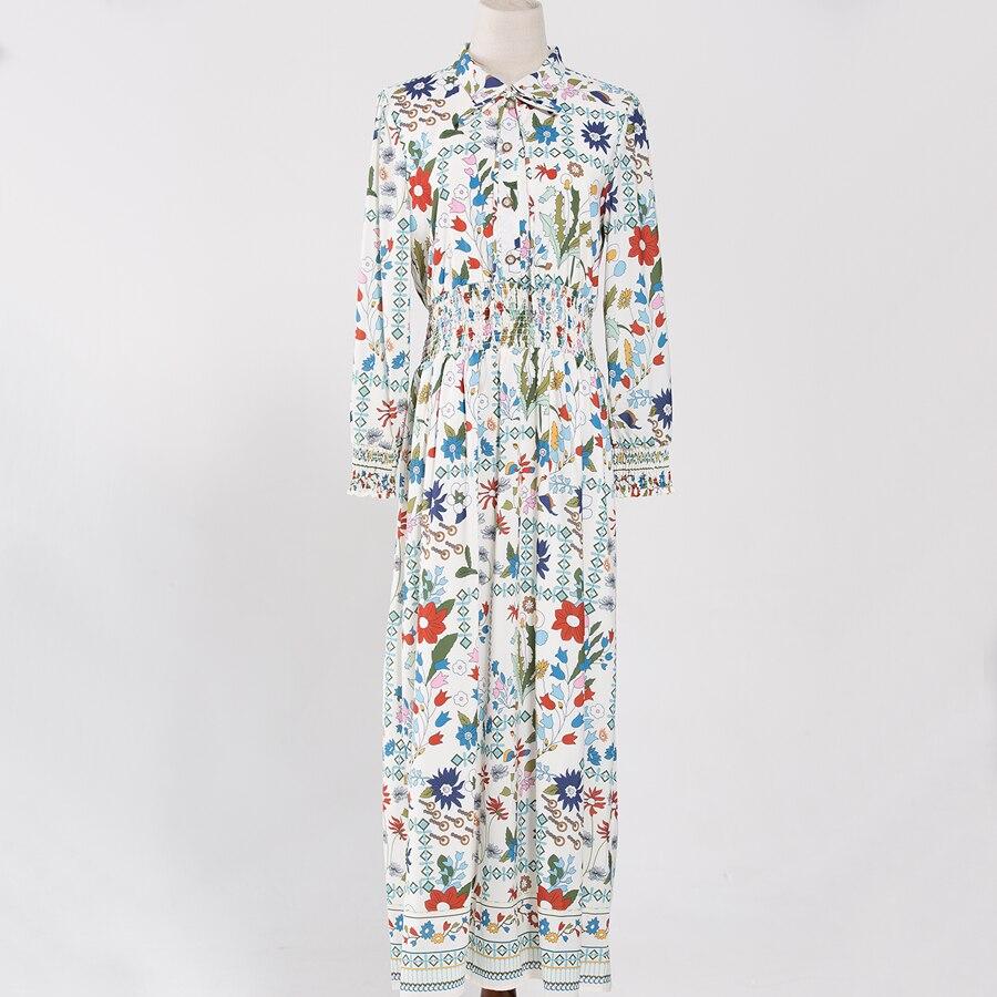 L'automne Longues High 2018 Mode Cheville Nouvelle Manches De Robes Seqinyy À Luxueux Street Longueur Imprimé Haute Début Femme Qualité Robe qYwRqA7