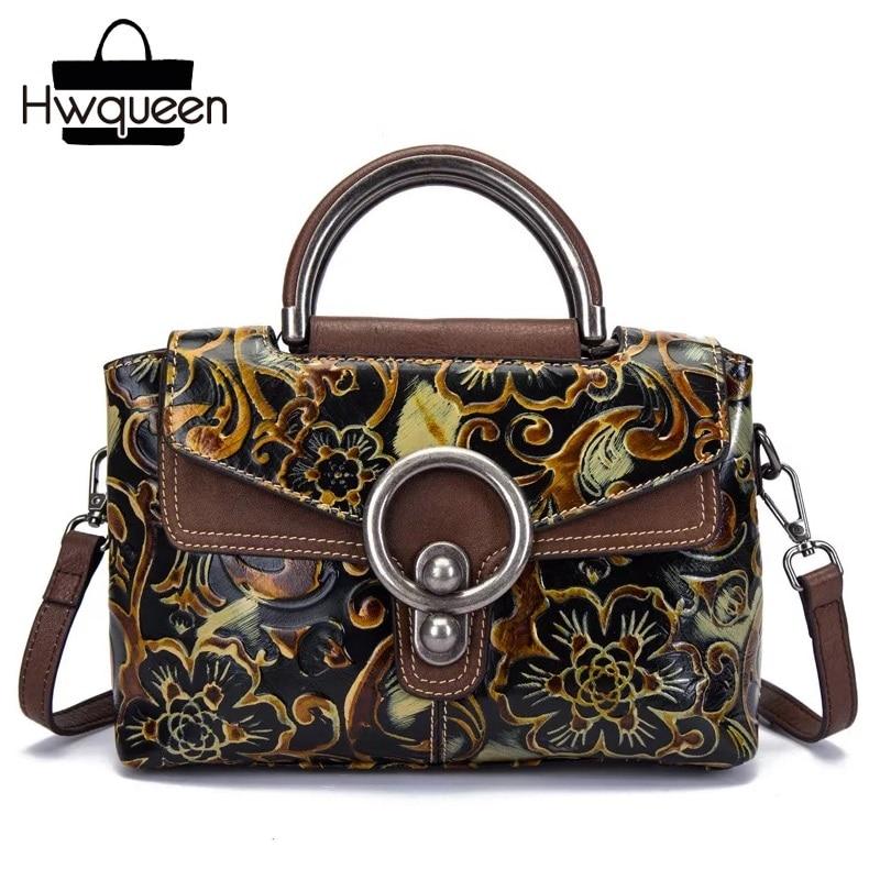 все цены на Embossing Designer Genuine Leather Lady Flower Purse Vintage Real Cowhide Female Shoulder Bag Metal Handle Woman Small Handbag онлайн