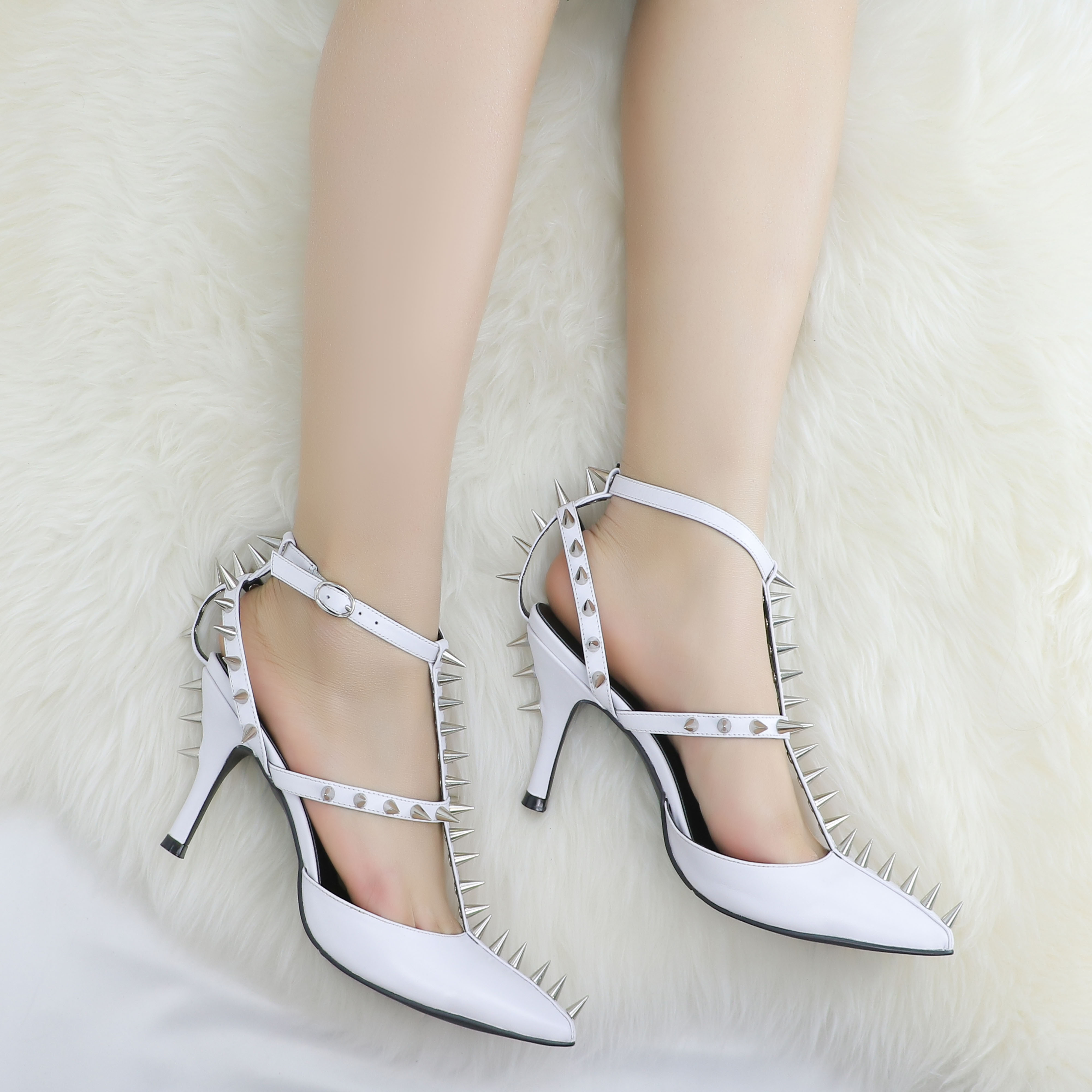 Roni Bouker White Genuine Leather Shoes Women Mid Heel Studded Pumps Fashion Sexy Strappy Heels Spikes Shoe HandmadeRoni Bouker White Genuine Leather Shoes Women Mid Heel Studded Pumps Fashion Sexy Strappy Heels Spikes Shoe Handmade