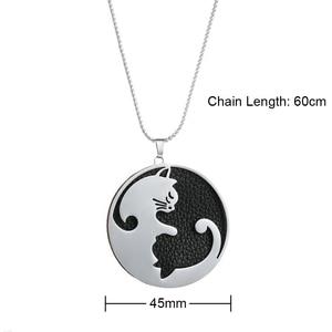 Image 4 - Legenstar 커플 쥬얼리 목걸이 스테인레스 스틸 교환 할 수있는 가죽 동물 고양이 펜던트 목걸이 charm statement collier