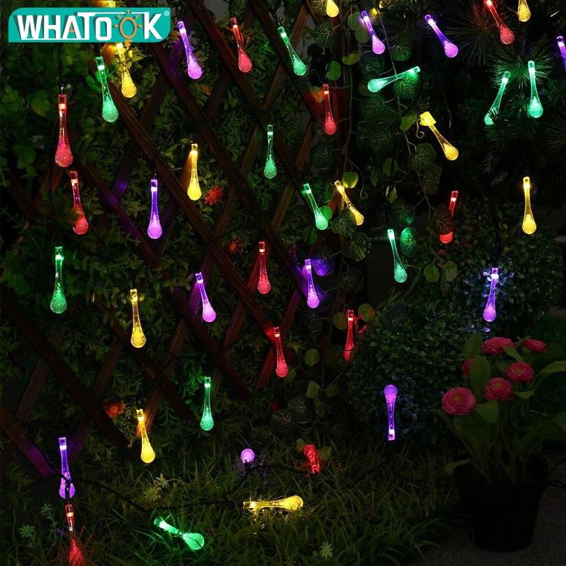 Işıklar ve Aydınlatma'ten Güneş Lambaları'de Premium Kalite 4.8 M 20 LED Su Damlası Açık Güneş Dize Işıklar 8 modları Su Geçirmez Işık Noel Garland için Yard * 100 adet WHATOOK Store