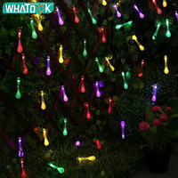 Premium Quality 4.8M 20 LED Water Drop Outdoor Solar String Lights 8 modes Waterproof Light for Christmas Garland Yard *100pcs