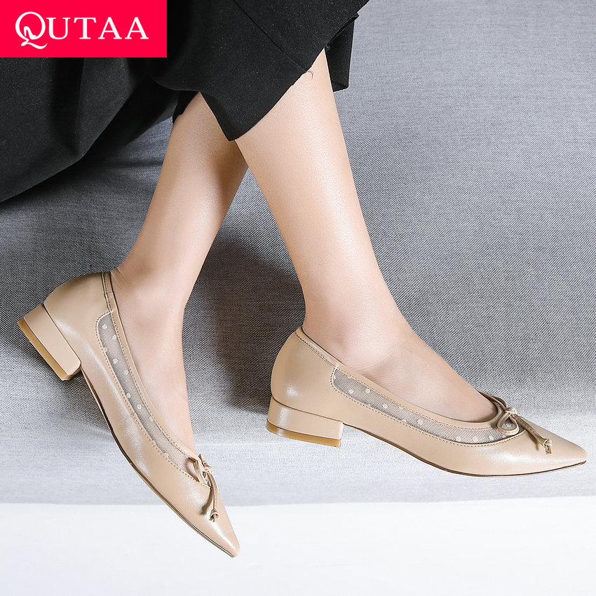 QUTAA 2019 Women Pumps Fashion New Shoes Slip on Square Heel Pointed Toe All Match Platform