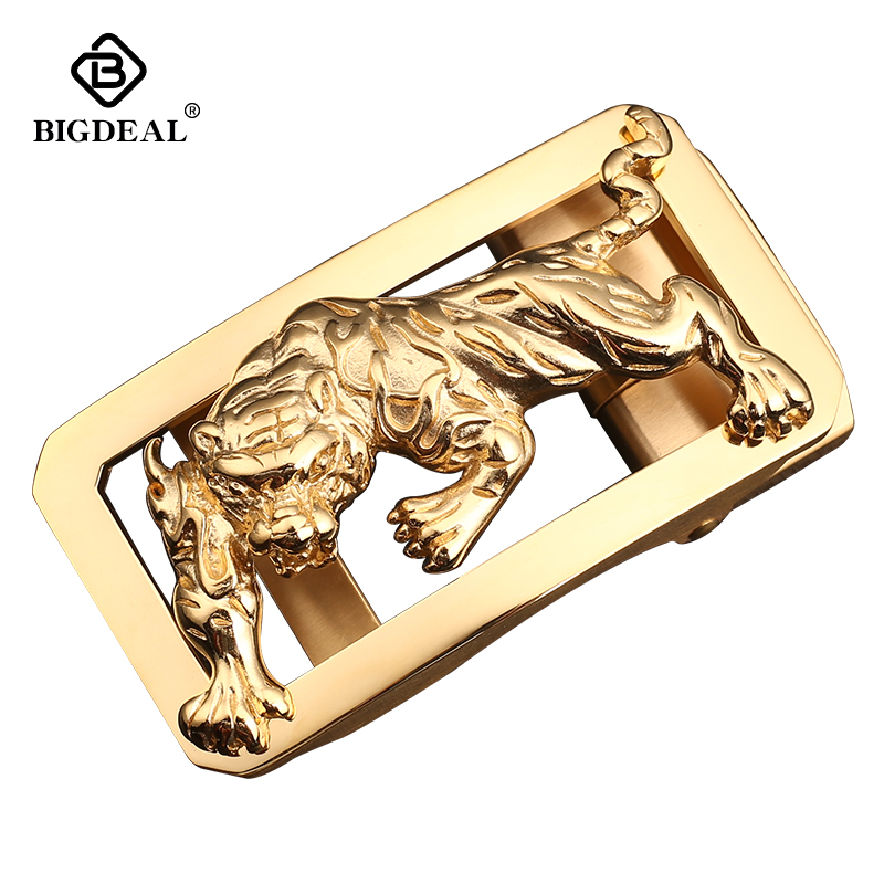 BIGDEAL Fierce Tiger Male Leather Belt Stainless Steel Automatic Buckle Designer Mens Luxury Waistband Accessory