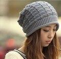 Новый Осень Зима Шерсти Вязание Hat для Женщин Шапки Леди шапочки Вязаные Шапки Шапки Треугольник аргайл Pattern Белый Серый Цвет CP002