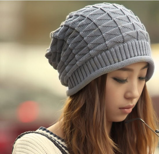 Новый осень-зима Вязание шерстяная шапка для Для женщин Шапки Lady Beanie вязаные Шапки шапки Треугольники ромбовидным рисунком белый серый Цвет CP002