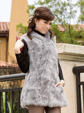 leather coat 2014 hooded rabbit real fur vest fox real fur tan vest medium long slim
