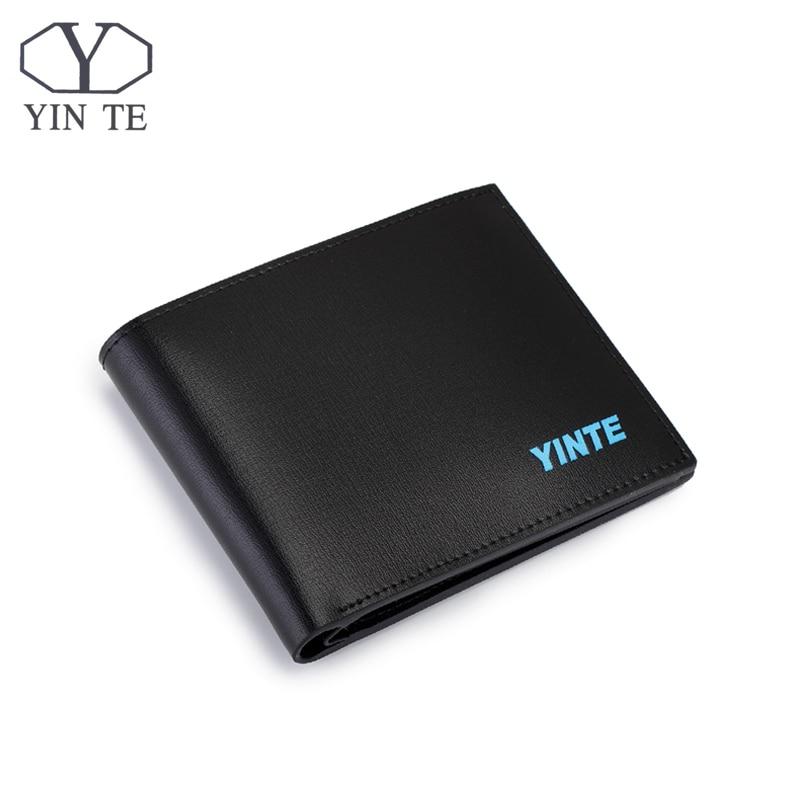 ФОТО YINTE Black Men's Short Small Wallet Top Leather Business Purse Fashion Design Leather Card Holder Pocket Purse Portfolio T8845C