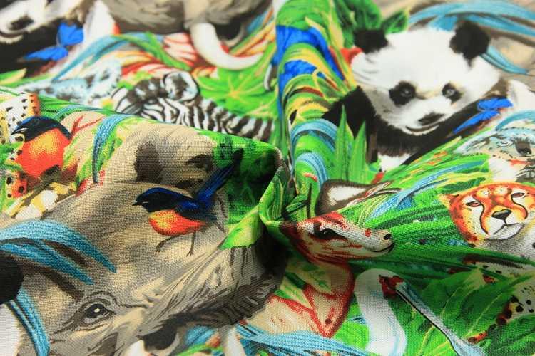 ครึ่งธรรมดาผ้าฝ้ายการ์ตูนสัตว์ park พิมพ์ทำด้วยมือ DIY เสื้อผ้าชุดผ้าฝ้าย 100% T478