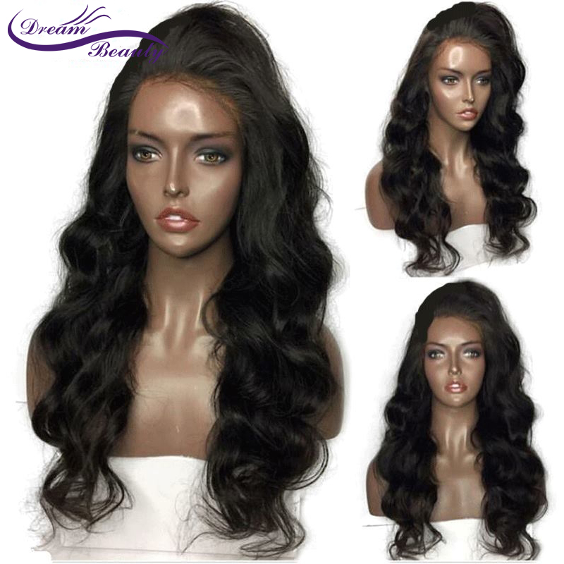 Dream Beauty Glueless Lace Front Wigs Body Wave Brazilian Remy 100 Human Hair Pre Plucked Hairline