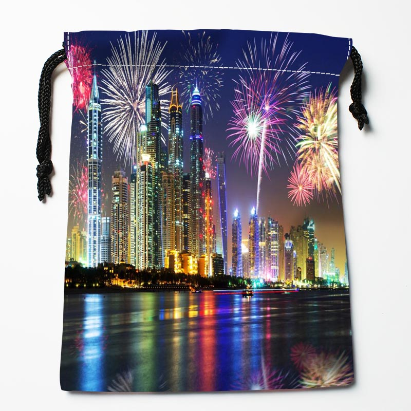New Arrive Dubai Night Scenery Drawstring Bags Custom Storage Bags Printed Gift Bags More Size 27x35cm DIY Your Picture