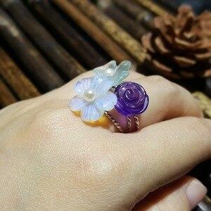 Image 4 - LiiJi Unique 925 Sterling Silver Amethyst Rose,Blue Aquamarine Crystal,Opal Crystal Flower Pearl Ring for Women Girls Gift