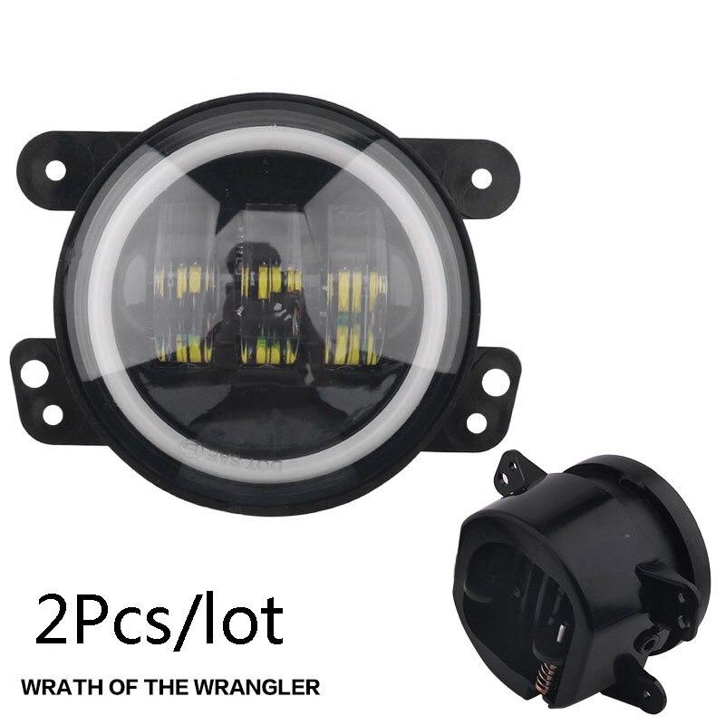 2Pcs Lot For Jeep Wrangler 4.5 inch Harley Fog Lights Angel Eyes Headlights Led Lights Set Front Bar Fog Lights front fog lights l
